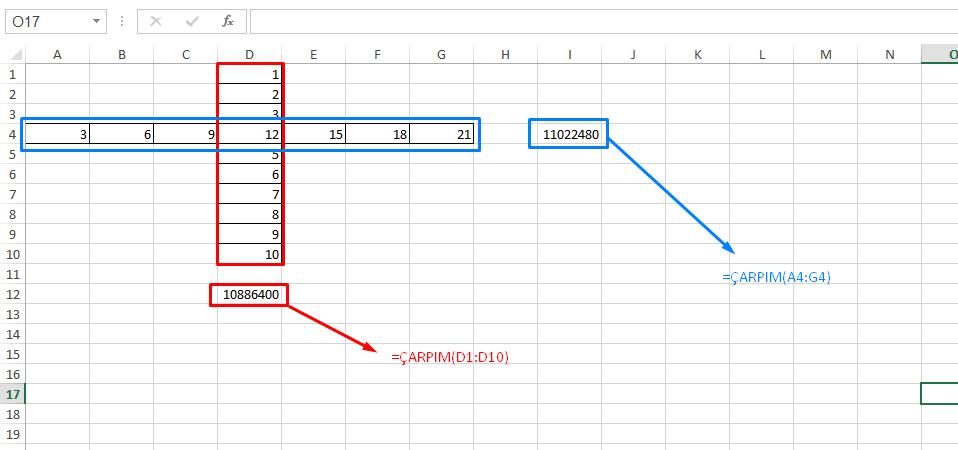 Excel Çarpma Formülleri