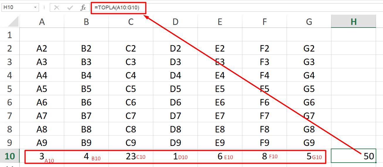 Excel de Toplama