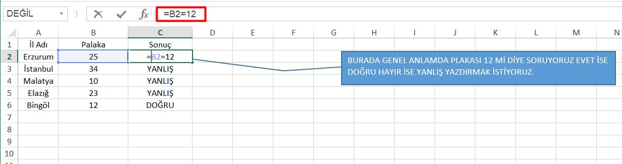 Excel Doğru Formülü