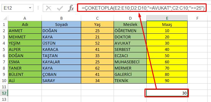 Excel Çoketopla Formül