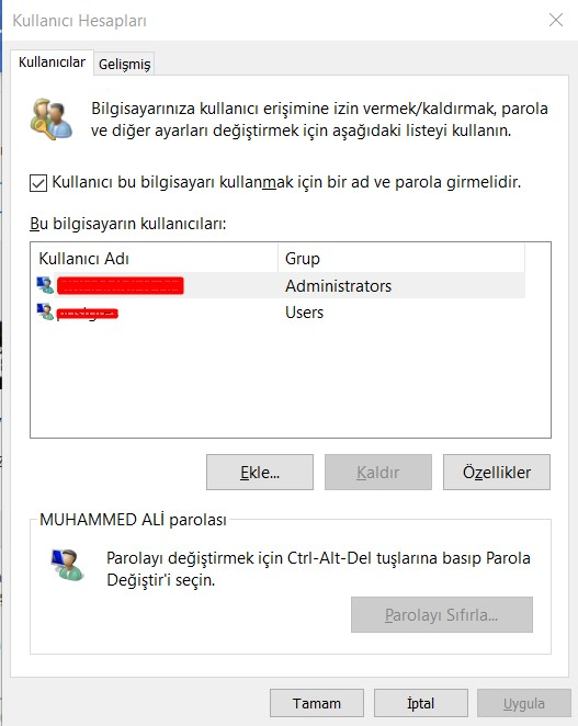 Bilgisayar Şifre Kaldırma Ekranı