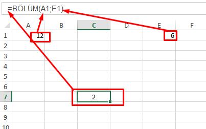 Excel Bölme İşlemi Sonucu