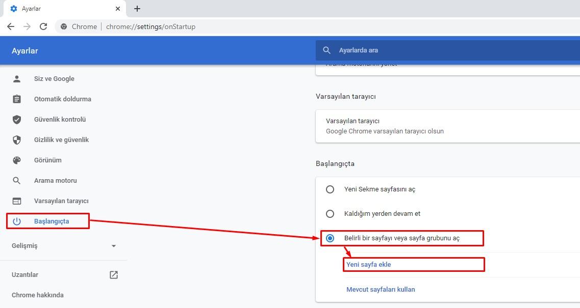 google açılış sayfası ayarlama kısmı